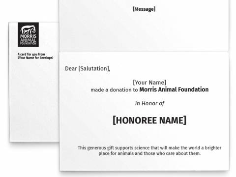 Image of inside of the Wildlife Photo Honor Card with placeholder text